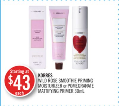 Korres Wild Rose Smoothie Priming Moisturizer or Pomegranate Mattifying Primer