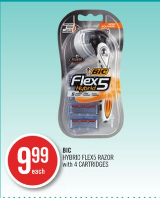 Bic Hybrid Flex5 Razor With 4 Cartridges