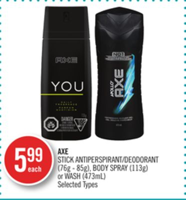 Axe Stick Antiperspirant/deodorant (76g - 85g) - Body Spray (113g) or Wash (473ml)