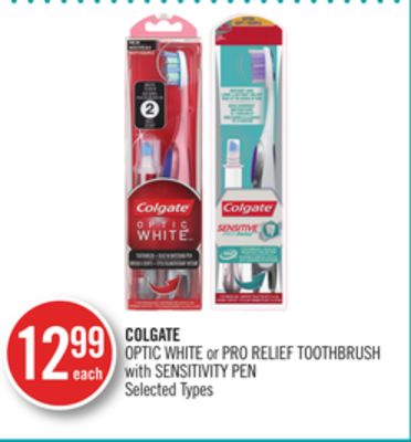 Colgate Optic White or Pro Relief Toothbrush With Sensitivity Pen
