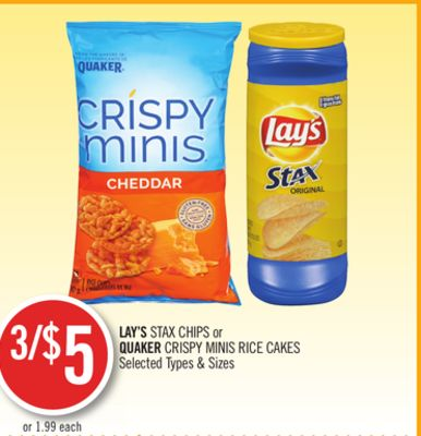 Lay's Stax Chips or Quaker Crispy Minis Rice Cakes