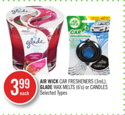 Air Wick Car Fresheners (3ml) - Glade Wax Melts (6's) or Candles