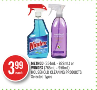 Method (354ml - 828ml) or Windex (765ml - 950ml) Household Cleaning Products