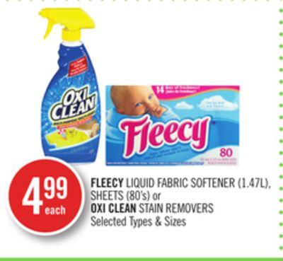 Fleecy Liquid Fabric Softener (1.47l) - Sheets (80's) or Oxi Clean Stain Removers