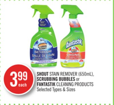 Shout Stain Remover (650ml) - Scrubbing Bubbles or Fantastik Cleaning Products