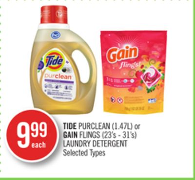 Tide Purclean (1.47l) or Gain Flings (23's - 31's) Laundry Detergent