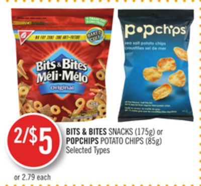 Bits & Bites Snacks (175g) or Popchips Potato Chips (85g)
