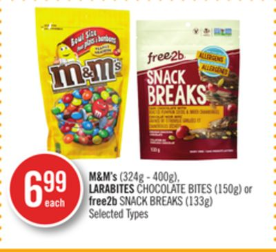 M&m's (324g - 400g) - Larabites Chocolate Bites (150g) or Free2b Snack Breaks (133g)