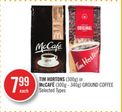 Tim Hortons (300g) or Mccafé (300g - 340g) Ground Coffee