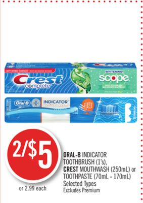 Oral-b Indicator Toothbrush (1's) - Crest Mouthwash (250ml) or Toothpaste (70ml - 170ml)