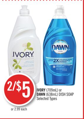 Ivory(709ml) or Dawn (638ml) Dish Soap