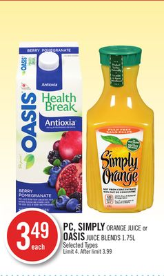 PC - Simply Orange Juice or Oasis Juice Blends