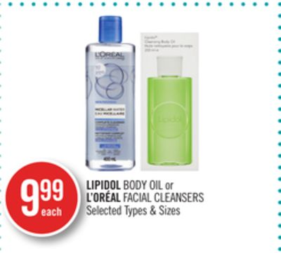 Lipidol Body Oil or L'oréal Facial Cleansers
