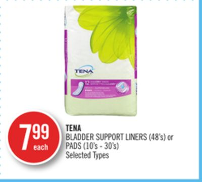 Tena Bladder Support Liners (48's) or Pads (10's - 30's)