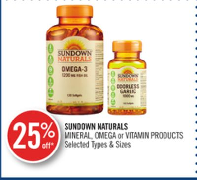 Sundown Naturals Mineral - Omega or Vitamin Products