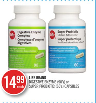 Life Brand Digestive Enzyme (90's) or Super Probiotic (60's) Capsules