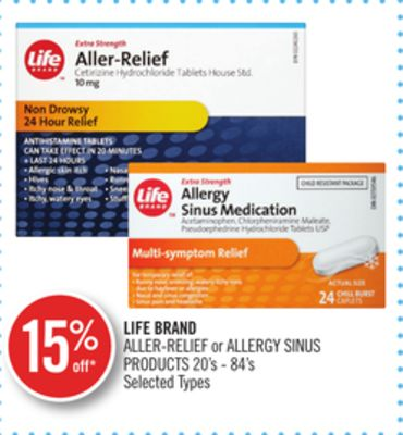 Life Brand Aller-relief or Allergy Sinus Products