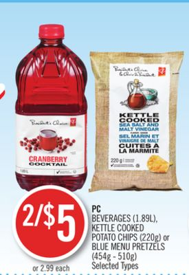 PC Beverages (1.89l) - Kettle Cooked Potato Chips (220g) or Blue Menu Pretzels (454g - 510g)