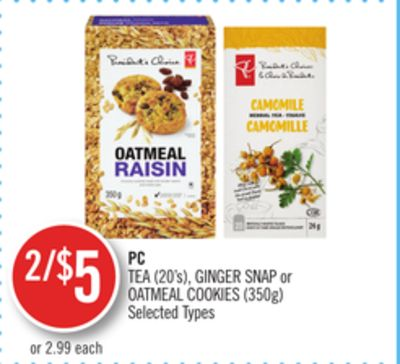 PC Tea (20's) - Ginger Snap or Oatmeal Cookies (350g)