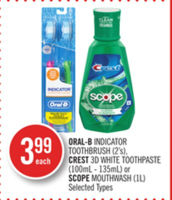 Oral-b Indicator Toothbrush (2's) - Crest 3D White Toothpaste (100ml - 135ml) or Scope Mouthwash (1l)