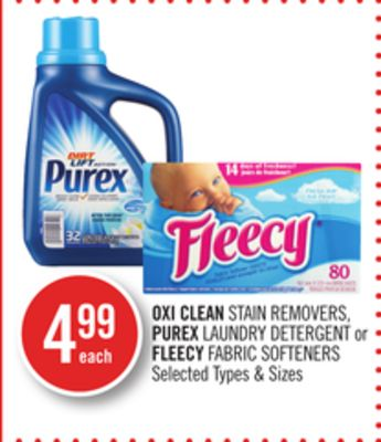 Oxi Clean Stain Removers - Purex Laundry Detergent or Fleecy Fabric Softeners