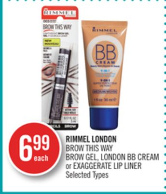 Rimmel London Brow This Way Brow Gel - London Bb Cream or Exaggerate Lip Liner