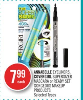Annabelle Eyeliners - Covergirl Supersizer Mascara or Ready Set Gorgeous Makeup Products