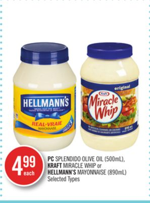 PC Splendido Olive Oil (500ml) - Kraft Miracle Whip or Hellmann's Mayonnaise (890ml)