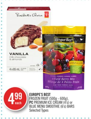 Europe's Best Frozen Fruit (500g - 600g) - PC Premium Ice Cream (4's) or Blue Menu Smoothie (6's) Bars