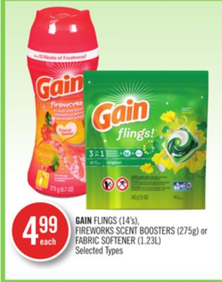 Gain Flings (14's) - Fireworks Scent Boosters (275g) or Fabric Softener (1.23l)