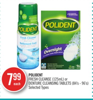 Polident Fresh Cleanse (125ml) or Denture Cleansing Tablets (84's - 96's)