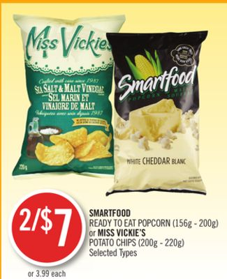 Smartfood Ready To Eat Popcorn (156g - 200g) or Miss Vickie's Potato Chips (200g - 220g)