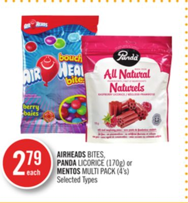 Airheads Bites - Panda Licorice (170g) or Mentos Multi Pack (4's)