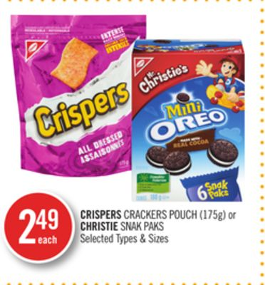 Crispers Crackers Pouch (175g) or Christie Snak Paks