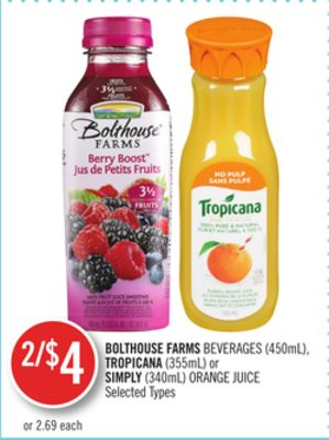 Bolthouse Farms Beverages (450ml) - Tropicana (355ml) or Simply (340ml) Orange Juice