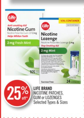 Life Brand Nicotine Patches - GUM or Lozenges