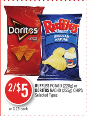 Ruffles Potato (220g) or Doritos Nacho (255g) Chips