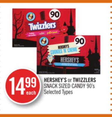 Hershey's or Twizzlers Snack Sized Candy