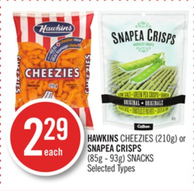 Hawkins Cheezies (210g) or Snapea Crisps (85g - 93g) Snacks