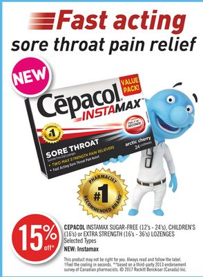 Cepacol Instamax Sugar-free (12's - 24's) - Children's (16's) or Extra Strength (16's - 36's) Lozenges