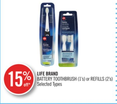 Life Brand Battery Toothbrush (1's) or Refills (2's)