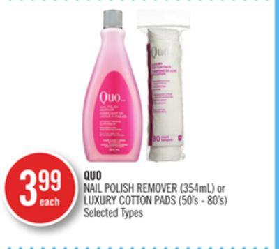 Quo Nail Polish Remover (354ml) or Luxury Cotton Pads (50's - 80's)