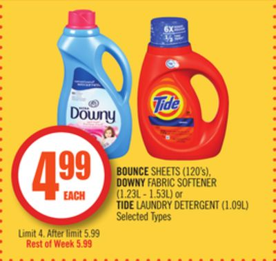Bounce Sheets (120's) - Downy Fabric Softener (1.23l - 1.53l) or Tide Laundry Detergent (1.09l)