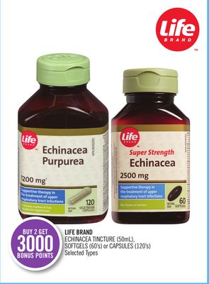 Life Brand Echinacea Tincture (50ml) - Softgels (60's) or Capsules (120's)