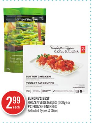 Europe's Best Frozen Vegetables (500g) or PC Frozen Entrées