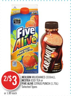 Neilson Milkshakes (310ml) - Nestea Iced Tea or Five Alive Citrus Punch (1.75l)