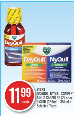 Vicks Dayquil - Nyquil Complete Sinus Capsules (24's) or Liquid (236ml - 354ml)