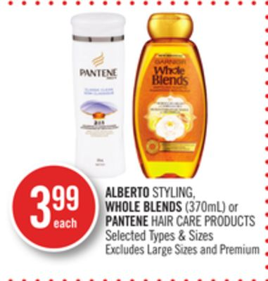 Alberto Styling - Whole Blends (370ml) or Pantene Hair Care Products