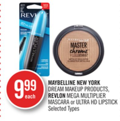 Maybelline New York Dream Makeup Products - Revlon Mega Multiplier Mascara or Ultra Hd Lipstick
