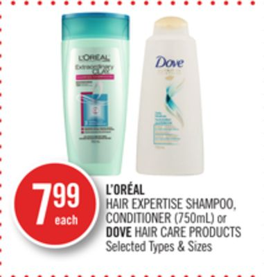 L'oréal Hair Expertise Shampoo - Conditioner (750ml) or Dove Hair Care Products